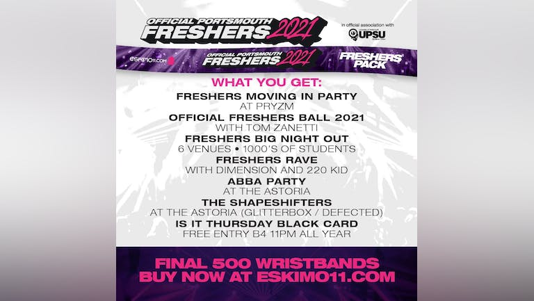 Official Portsmouth Uni Freshers Pack 2021 INC Freshers Ball & All major events!