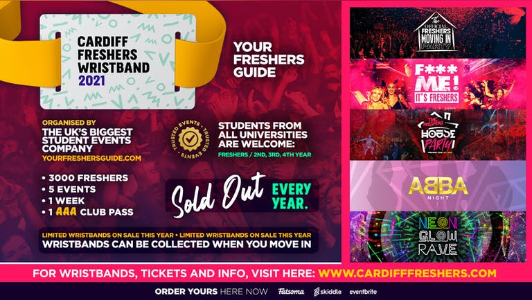 Cardiff Freshers Wristband 2021 - The Official Freshers Pass | Includes the biggest events in Cardiff
