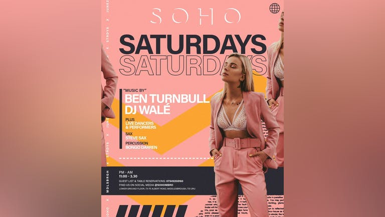 """SOHO SATURDAYS with Steve """"Sax"""" Bone"""