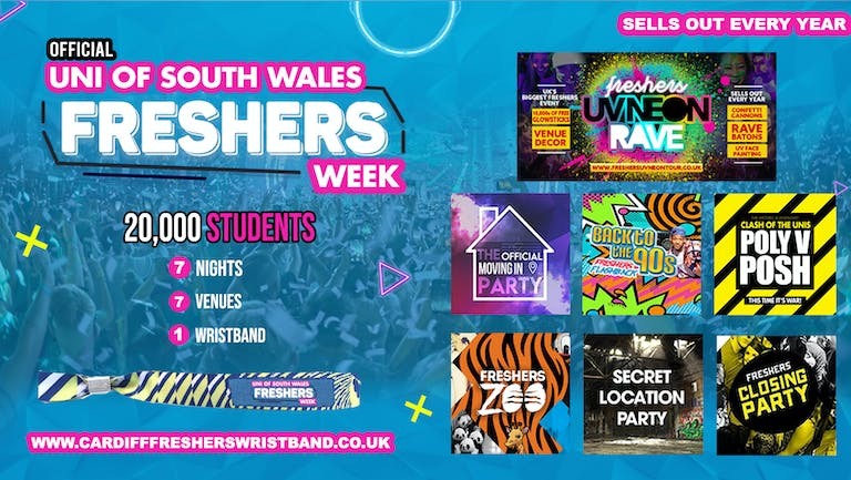 OFFICIAL University of South Wales Freshers Week Wristband 2021 - Cardiff Freshers 2021