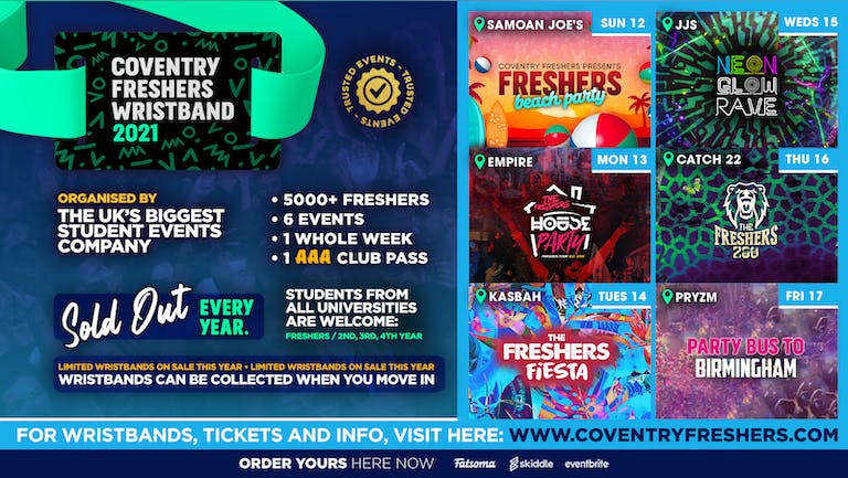 The Coventry Freshers Wristband // Coventry Freshers 2021 - Last FEW Wristbands!