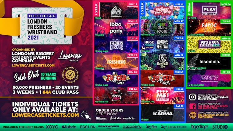 ⚠️LAST 50 WRISTBANDS⚠️ THE 2021 OFFICIAL LONDON FRESHERS WRISTBAND!!