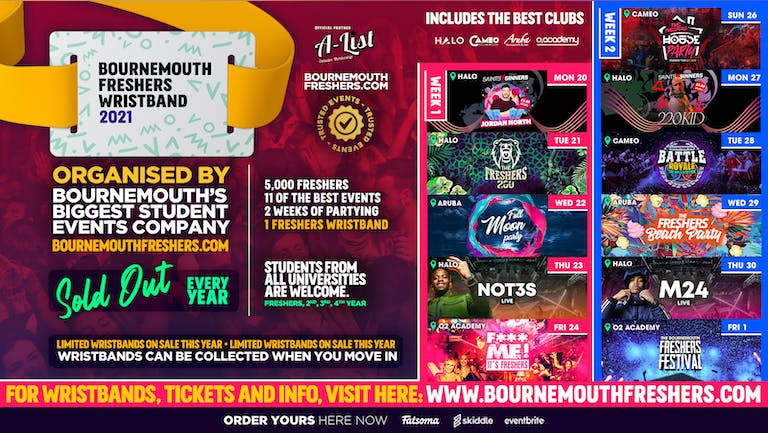 The Bournemouth Freshers Wristband //// Bournemouth Freshers 2021 - ON SALE NOW