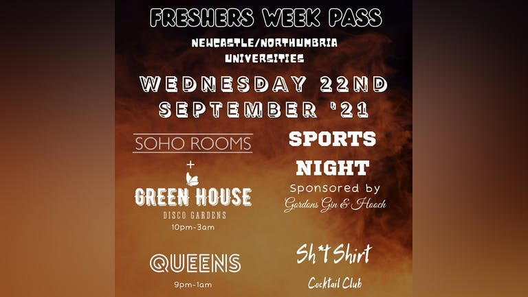 Sohos Freshers Pass/Band - TODAYS EVENTS - WEDS 22nd SEPTEMBER!